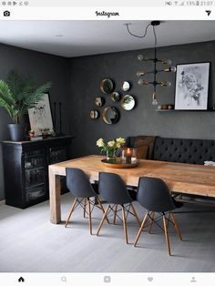 25 Enchanting Modern Dining Room Design Inspirations with Cozy Vibe Dining Room Decor Cozy Design Dining Enchanting Inspirations modern Room vibe Dining Room Paint Colors, Dining Room Table Decor, Country Dining Rooms, Dining Room Walls, Dining Room Design, Decor Room, Wood Table, Design Room, Wall Colors