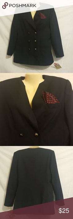 Vintage Women's Blazer Still has tags attached, never worn blazer Navy Blue, with red handkerchief attached Le Suit Jackets & Coats Blazers