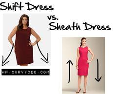"""Shift Dress vs. Sheath Dress"" by curvyceo ❤ liked on Polyvore"