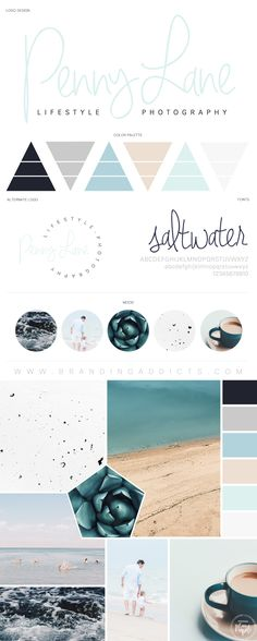 FONT of saltwater for FB. Seascape, ocean, beach & saltwater colors. Nature. Minimalist Mood Board. Earthy. Adventure. Professional Business Branding by Designer Laine Napoli. Web Design, Logo, Mood Board, Brand Boards, and more.