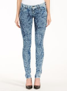 Mavi Alexa Mid Rise Blue Paisley Jean | Just Jeans