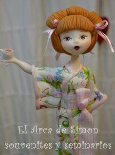 Porcelana fria polymer clay pasta francesa masa flexible fimo fondant gum paste topper  modelado modelling figurine geisha japon japan