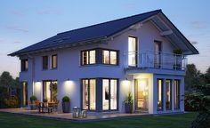 Villa Evolution154 - toit 2 pans - fenêtres d'angle et oriel avec balcon