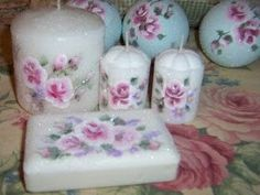 Hand painted roses candles and soap with glass glitter.