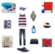 Red White Blue for him by einder on Polyvore featuring Hollister Co., Armani Jeans, Tommy Hilfiger, Dom Reilly, Acqua di Parma, Barque, men's fashion and menswear