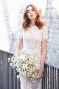 A gorgeous midi length dress by Love Honor. Delicate lace dress with a short sleeve. @whiterunway
