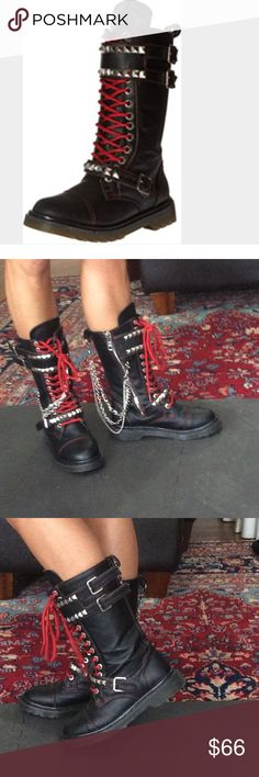Demonia rage 106 boots 8 Demonia gothic punk rock combat style boots size 8, wore at best twice briefly did not like the fit on me , runs a little smaller than size best fit 7-8 labeled as 8, black faux leather boots inner zip, red laces up front , studded buckles across front, hanging chains with removeable hooks can be removed if desired and worn on the inner or outer side of the boots extremely good shape not easily found , no original box will be shipped boxed, hot topic killstar punk…