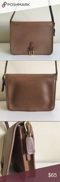 Vintage Coach Saddle Pouch Large Bag Putty NYC USA Vintage Coach Small Courier Pouch Style 9585, Serial No. 617-7830 Made in New York City  Putty/taupe leather with brass hardware. One interior zip pocket, adjustable buckle strap. Hang tag included.  I have cleaned and conditioned this bag. The color is a bit uneven due to patina, ranging from brown to gray-brown/taupe. There is a little bit of pen marks on the inside and one longer one under the flap. Structure is good, no broken piping…