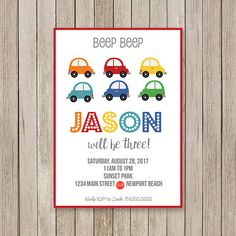 Car Birthday Party Invitation  Car Bday Party Invite  Red