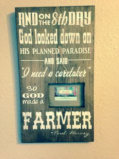 So God made a farmer painted wood sign with 4x6 picture frame by TinasTinkers on Etsy