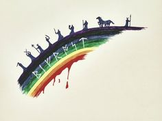 Bifrost by Ellthalion - left to right:  Frigg, Tyr, Loki, Freyja, Forseti, Thor, Odin, Sleipnir, and Heimdallr