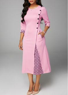 Button Embellished Round Neck Pocket Dress | Rotita.com - USD $35.33