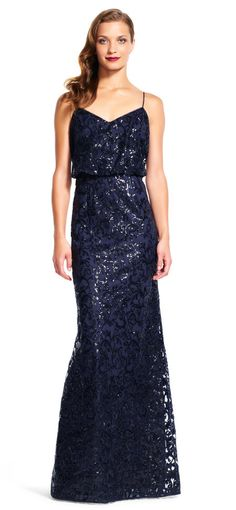 Adrianna Papell | Blouson Mermaid Dress with Sequin Scroll Embroidery