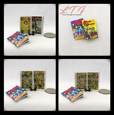 2 Miniature WONDER WOMAN Comic Books Dollhouse Miniatures Book 1:12 Scale Books Diana Prince Princess Diana of Themyscira DC Comics by LittleTHINGSinterest on Etsy