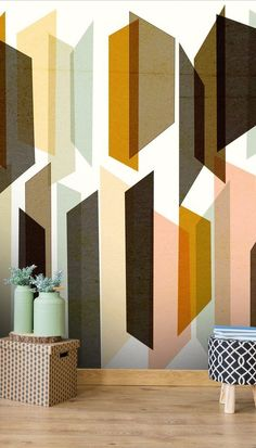 Angular Shapes Wall Mural by Nicola Evans Geometric Wallpaper Home, Outdoor Metal Wall Art, Brick Accent Walls, Rustic Exterior, Home Remodel Costs, Minimalist Home Interior, Mural Wall Art, Home Decor Pictures, High Quality Wallpapers