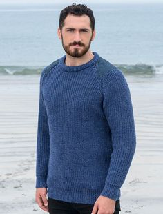 Irish Fishermans Ribbed Sweater with Patches. Stricken Und Häkeln ·  Wollpullover · Herrenpullover ... c51f9eb9ce