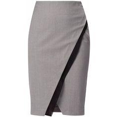 WtR London - Marylebone Double Layer Pencil Skirt  Grey ($445) ❤ liked on Polyvore featuring skirts, bottoms, saias, gray skirt, knee length pencil skirt, pencil skirt, textured skirt and wool skirt