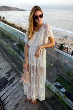 sunglasses white lace dress summer women fashion clothing outfit style apparel