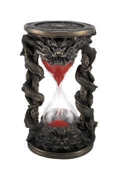 dragon design hourglass w red sand.