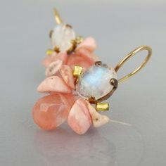 Moonstone Rose Quartz Bee Earrings In Copper