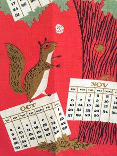 Tammis Keefe 1960 calendar tea towel on Etsy