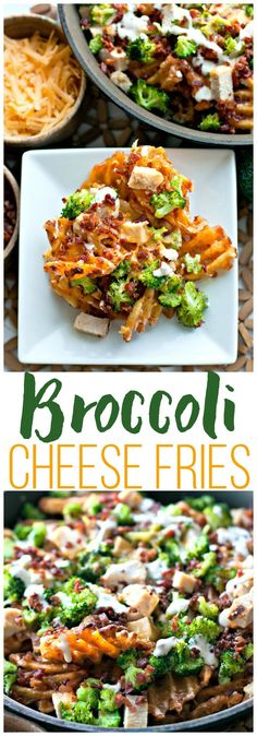 Loaded Broccoli Cheese Fries: a fast family dinner recipe or game day recipe that everyone is sure to love. These fries are topped with family favorites like broccoli, cheddar cheese, chicken, bacon, and ranch dressing for dipping! | Easy Dinner | Easy Game Day Recipe