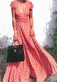 Red Polka Dot Pattern Plunging Neckline Bohemian Polyester Maxi Dress