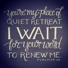 A good reminder that the only way we will ever find true rest and renewal is by spending time with God!  Nothing and no one else can give you exactly what you need!