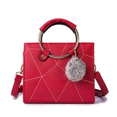 c065299494f2 Women Leisure PU Leather Handbag Stitching Solid Crossbody Bag is designer