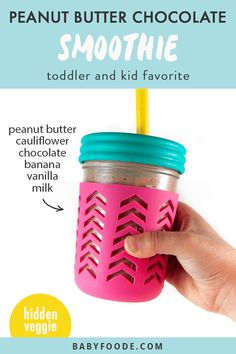 If you have a picky one at home who refuses to eat their vegetables, this Chocolate Peanut Butter Smoothie is a great way to sneak them in! This kid-approved smoothie is great for a quick and easy breakfast or snack and is nutrient-dense. Just don't tell them there's any cauliflower in it.. they'll never know! #hiddenveggie #toddler #kid #healthy #smoothie Toddler Smoothies, Smoothies For Kids, Healthy Breakfast Smoothies, Green Smoothies, Smoothie Popsicles, Smoothie Recipes, Juicer Recipes, Smoothie Cleanse, Healthy Store Bought Snacks