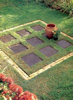 Patio using stone with grass in between