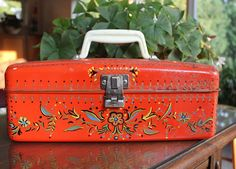Vintage Hand Painted Red Metal Tool Box by SheAteMyCrayons on Etsy, $10.00