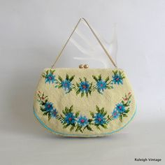Vintage 1950s Handbag  50s Embroidered Purse by RaleighVintage, $42.00