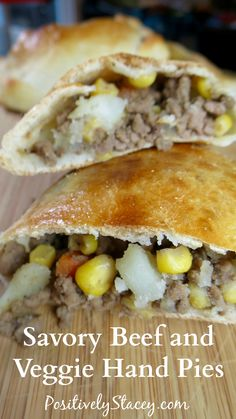 Savory Beef and Veggie Hand Pies - Positively Stacey Pie Recipes, Dinner Recipes, Cooking Recipes, Recipies, Sandwich Recipes, Turkey Recipes, Yummy Recipes, Dinner Ideas, Healthy Recipes