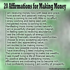 20 Affirmations For Making Money. Positive Affirmations and How They Work Affirmations Positives, Wealth Affirmations, Morning Affirmations, Law Of Attraction Affirmations, Affirmations For Money, Positive Thoughts, Positive Vibes, Positive Quotes, Mantra