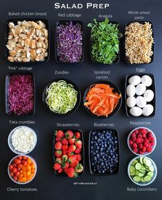 Salad Prep After Holiday! Holiday was so much fun! I did not cook for 3 weeks but it's also nice to be back and back to my kitchen🤗 . Lunch Meal Prep, Healthy Meal Prep, Healthy Snacks, Healthy Eating, Healthy Recipes, How To Eat Healthy, Fitness Meal Prep, Meal Prep Plans, Nutrition