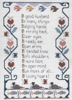 Cross My Heart Husband's Poem Counted Cross Stitch Sampler Pattern Primitive Charted Design 1981