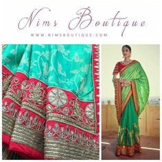 Maharani Silk Green & Red Brocade Sari with Red Embroidered unstitched blouse