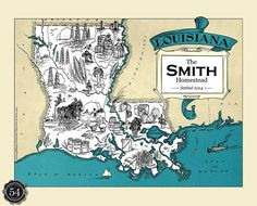 Custom Louisiana Map LA Map Art Print Vintage Map Personalized Wedding Housewarming Gift Retro Home Decor Wall Decor State Map New Orleans
