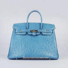 Sacs Hermès Pas Cher Birkin 35cm Ostrich Veins Sac Bleu 6089