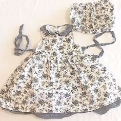 Maggie and Zoe 24 Mo Baby Toddler Dress with Bloomers White Black Floral  Toile 928ff305c7e0