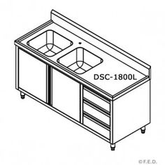 FED DSC 1800L Kitchen Tidy Cabinets With Double Sinks, Doors U0026drawers    Cabinet  . Commercial Kitchen EquipmentsStainless Steel ...