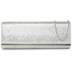 Jessica McClintock Metal Mesh Baguette Evening Clutch ($20) ❤ liked on Polyvore featuring bags, handbags, clutches, silver, holiday purse, evening clutches, metal mesh purse, special occasion clutches and white handbags