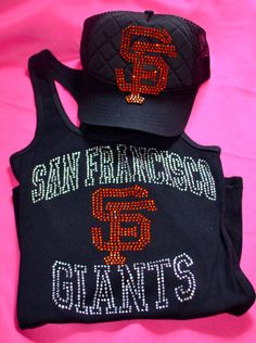 d18f73f4ad Items similar to Rhinestone San Francisco Giants Hat and Tank Top Set on  Etsy