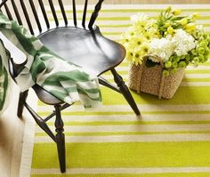 Liven up a new (or old!) sisal rug with painted stripes! Great for the office, den, nursery or even your patio! (be sure to use outdoor paint though)