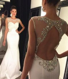 d84168a598 L136 Scoop Heavy Beaded Cheap White Evening Dresses