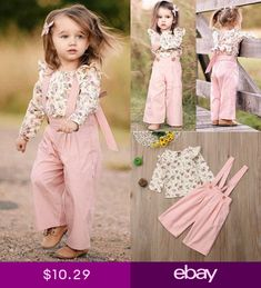 US Toddler Kids Baby Girl Floral Tops Bib Strap Overalls Pants Outfits Clothes Pant Romper Outfit, Girls Fall Outfits, Autumn Outfits, Baby Overalls, Baby Girl Newborn, Baby Girls, Princess Outfits, Outfit Sets, Baby Dress
