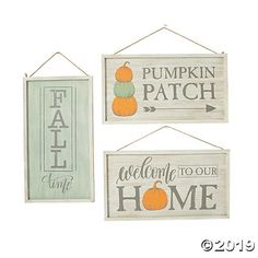 """These signs scream, """"Fall is here!"""" Warm and rustic wall decorations, the Fall Farmhouse Signs feature muted hues of green, orange and grey and . Rustic Fall Decor, Fall Home Decor, Autumn Home, Farmhouse Signs, Farmhouse Decor, Cute Halloween Decorations, Wall Decorations, Round Glass Vase, Whimsical Fonts"""