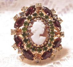 Vintage Rhinestone Cameo Ring Size 6 by ViksVintageJewelry on Etsy, $21.99