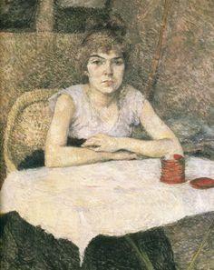 1887  Jeune femme à une table, Poudre de Riz Huile sur carton 65×58 cm Amsterdam Rijksmuseum Vincent Van Gogh